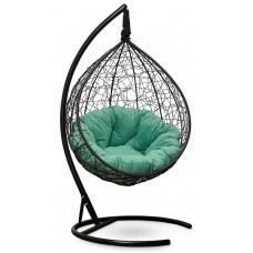 Подвесное кресло SEVILLA VERDE VELOUR черное + каркас
