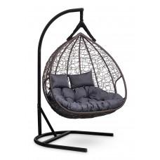 Подвесное двухместное кресло-кокон FISHT коричневое + каркас