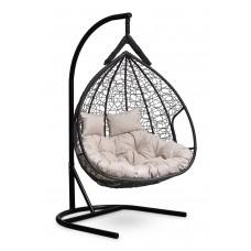 Подвесное двухместное кресло-кокон FISHT черное + каркас