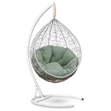 Подвесное кресло SEVILLA VERDE VELOUR белое + каркас